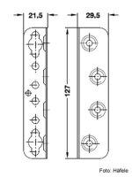 Bettbeschlag mit Schlüssellochstanzung 21,5x29,5x127 mm