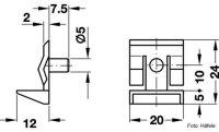 Glasbodenträger Zapfen 5 mm mit Einrastsicherung Kunststoff
