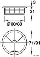 Kabeldurchlass 60 mm Kunststoff beige