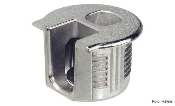 Verbindergehäuse Rafix 20 vernickelt mit Wulst für Holzdicke 16 mm