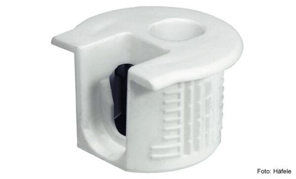 Verbindergehäuse Rafix 20 weiß ohne Wulst für Holzdicke 19 mm