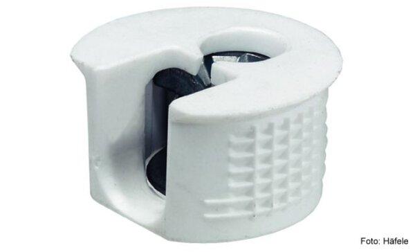 Verbindergehäuse Rafix 20 mit Senkrand weiß ohne Wulst für Holzdicke 19 mm