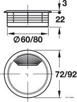 Kabeldurchlass 60 mm Kunststoff lichtgrau