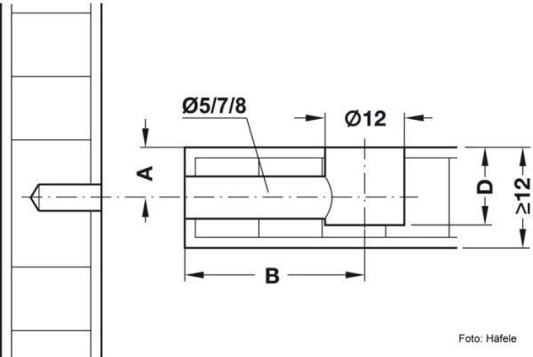 Exzentergehäuse Häfele Minifix 12//12 mm ohne Abdeckrand nickelfarben