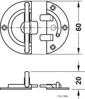 Drehriegel für Zargentische 60 mm