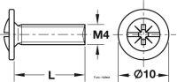 Gewindeschrauben Tellerkopf PZ vernickelt M4x15 und M4x25 mm
